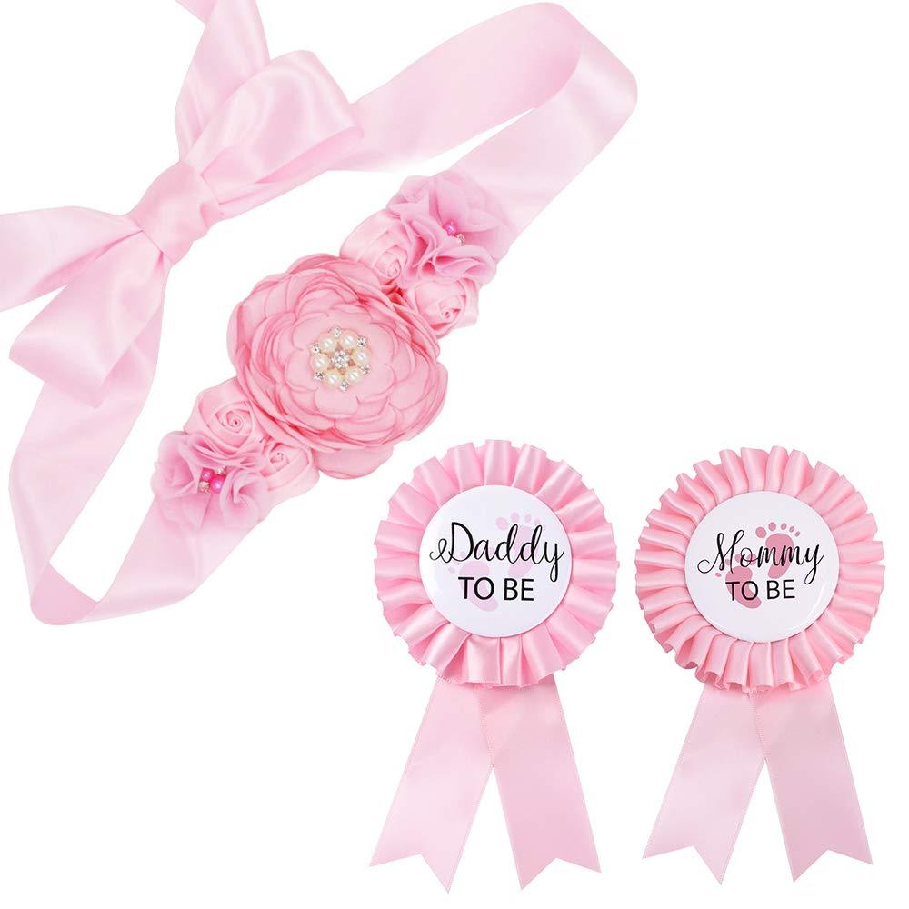 Baby Pink Maternity Sash Mommy Daddy Corsage Set – Baby Shower Sash Baby Girl Pregnancy Sash Keepsake Baby Shower Flower Belly Belt