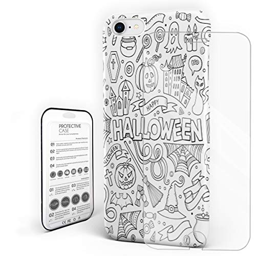 YEHO Art Gallery Christmas Phone Case Protective Design Hard Back Case,Hand Painting Halloween Candy Pumpkin Spider Design,Phone Covers with Screen Protector for Girls Boys,iPhone 7/8 ()