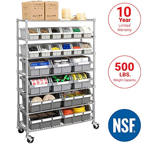- Seville Classics Commercial 7-Tier Platinum/Gray NSF 22-Bin Rack Storage System