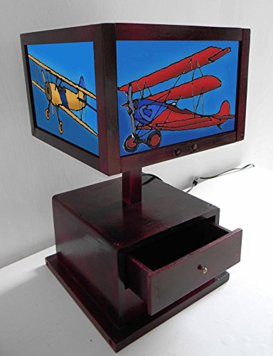 TIFFARTY Small Glass Style Old Planes Table Lamp with 2 Draw