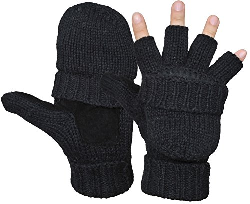 Yeeasy Men's Winter Gloves Warm Wool Knitted Convertible Fingerless Mittens Unisex (Black)