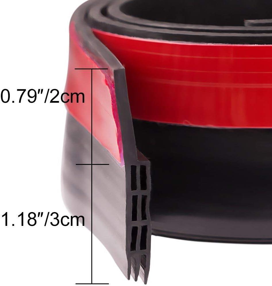 Dricar Selbstklebende T/ür T/ürdichtung Dichtungsstreifen Zugluftstopper 5 cm x 100 cm Schwarz Unter dem T/ür-Fegen-Wetter-abisolierenden T/ür-unteren Dichtungs-Streifen Silikon T/ürstopper