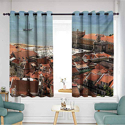 AndyTours Window Blackout Curtains,European View of Central Lisbon Portugal with Rooftops and Sea Old Town Nostalgic City,Insulated with Grommet Curtains for -