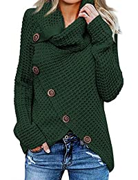 Womens Button Turtle Cowl Neck Asymmetric Hem Wrap Pullover Sweater Tops