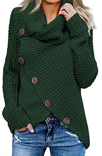 Asvivid Womens 2019 Winter Warm Turtleneck Cowl Neck Pullover Asymmetrical Wrap Button Cozy Knitted Sweater Tops M Green