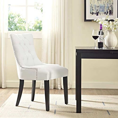 Modway Regent Modern Tufted Faux Leather Upholstered Kitchen and Dining Room Chair with Nailhead Trim in White
