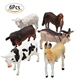 SunRise 6 PCS Large Farm Animals Figure,Educational Learning Big Plastic Farm Cute Action Party Toddlers Favors Toys