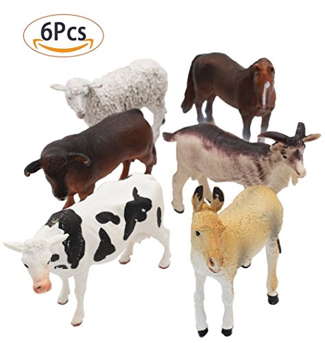 Farm Toys Action (SunRise 6 PCS Large Farm Animals Figure,Educational Learning Big Plastic Farm Cute Action Party Toddlers Favors Toys)
