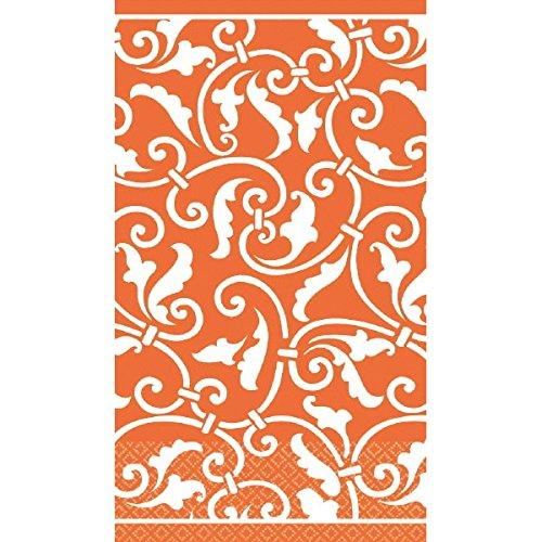 Amscan Party Ready Ornamental Scroll Guest Towels Tableware, Orange Peel, Paper, 7