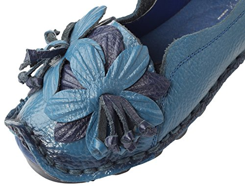 Flower Women's 2 Flat Mordenmiss Fall Shoes Style blue Pattern New FIZcAc