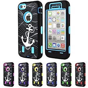 Mini - 3-in-1 Design Anchor Pattern Hard Case with Silicone Inside Cover for iPhone5C , Color: Purple