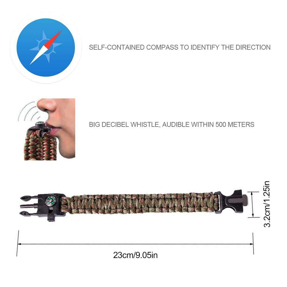 sifflet Womdee Bracelet de Survie en paracorde /étanche 2018 Bracelet de Survie en paracorde Chasse Couteau Camping randonn/ée Noir Allume-feu Corde de Sauvetage en Plein air Boussole