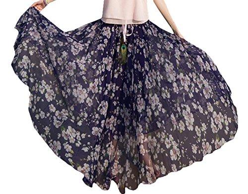 Bevalsa Jupe Longue en Tull Femme lgant Plisse Fluide vase Grande Taille Plisse lastique Bohme imprim Floral t en Mousseline de Soie Flamenco Boho Dress Casual Color 1