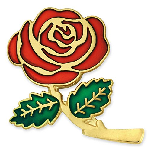 Green Enamel Rose - PinMart Colored Red Rose Flower Enamel Lapel Pin 1