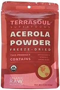 Terrasoul Superfoods Organic Acerola Cherry Powder (Freeze-dried), 4-ounces