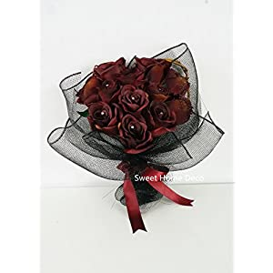Sweet Home Deco 16'' Silk Rose Artificial Flower Bouquet (12 Stems/12 Flowers) Wedding Home Decorations (Burgundy) 3