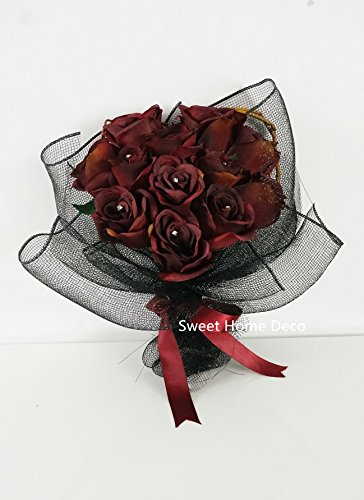 Sweet-Home-Deco-16-Silk-Rose-Artificial-Flower-Bouquet-12-Stems12-Flowers-Wedding-Home-Decorations-Burgundy