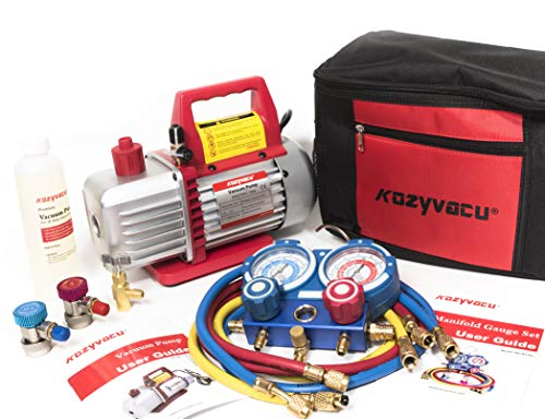 - Kozyvacu AUTO AC Repair Complete Tool Kit with 1-Stage 3.5 CFM Vacuum Pump, Manifold Gauge Set, Hoses and its Acccessories