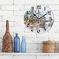 Tarity Silent Round Wall Clock, Watercolor River City Decorative Quiet Non Ticking Battery Operated Art Wall Clocks for Living Room Bedroom Office Kitchen Kids