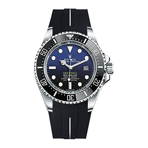 [ラバービー] RubberB ラバーベルト ROLEX ディープシー専用ラバーベルト(尾錠付き)(ブラック×ホワイト)※時計は付属しません(Watch is not included)[並行輸入品]  B01I6MYDY2