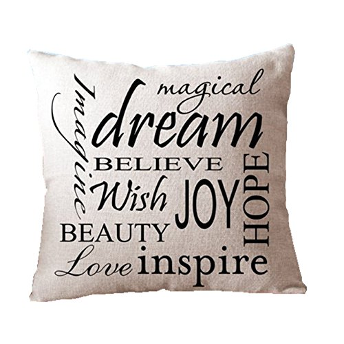 Leaveland Dream Inspirational Quote 18x18 Inch Cotton Linen Square Throw Pillow Case Decorative Durable Cushion Slipcover Home Decor Standard Size Accent Pillowcase Encasement