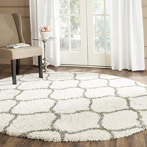 Safavieh Hudson Shag Collection SGH280A Ivory and Grey Moroccan Ogee Plush Round Area Rug (7' Diameter) (Hudson Collection)