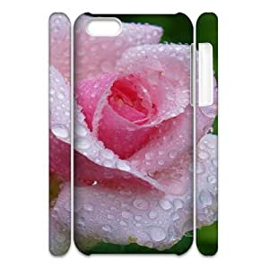 3D iPhone 5C Case,Fresh Dew Rose Macro Hard Shell Back Case for White iPhone 5C