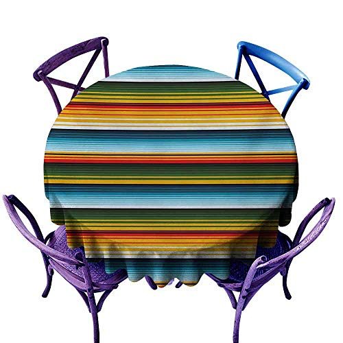 Polyester Tablecloth Striped Mexican Inspirations in Hand Made Horizontal Lines with Woven Ornamental Style Multicolor Excellent Durability D59