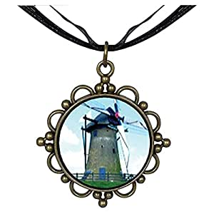 Chicforest Bronze Retro Style Old New Windmill Round Flower Pendant
