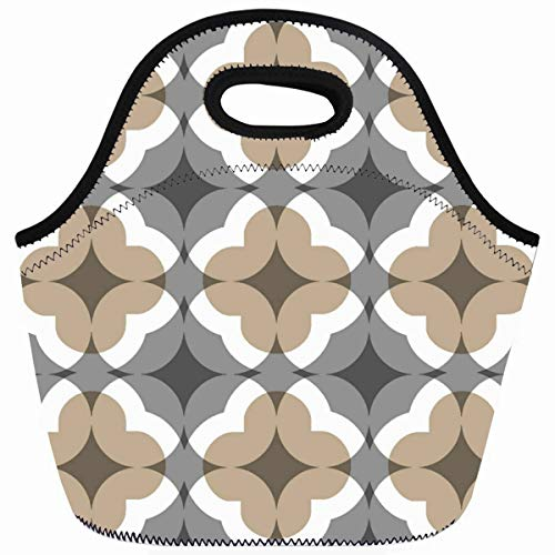 Ahawoso Reusable Insulated Lunch Tote Bag Tan Gray Floral Clover Zippered 10X11 Neoprene School Picnic Gourmet Lunchbox ()
