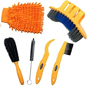 Anndason 6 Pieces Precision Bicycle Cleaning Brush Tool suitable for Mountain, Road, City, Hybrid ,BMX Bike and Folding Bike