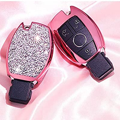 Royalfox(TM) Luxury 2 3 Buttons 3D Bling Girl Smart keyless Entry Remote Key Fob case Cover for Mercedes-Benz A C E S Class Series,GLK CLA GLA GLC GLE CLS SLK AMG Series,with Keychain (Pink)