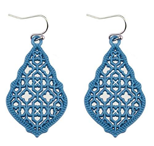 stylesilove Womens Trendy Moroccan Matte Hollow Filigree Clover Motif Dangle Earrings ()
