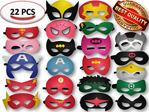 Superhero Party Masks, Multiple Sizes Through ADJUSTABLE Elastic Band, for Kids, Girls and Boys for Birthday Halloween or Avengers Party Supplies to Decoration (22 Pieces) by Gazelles Goods