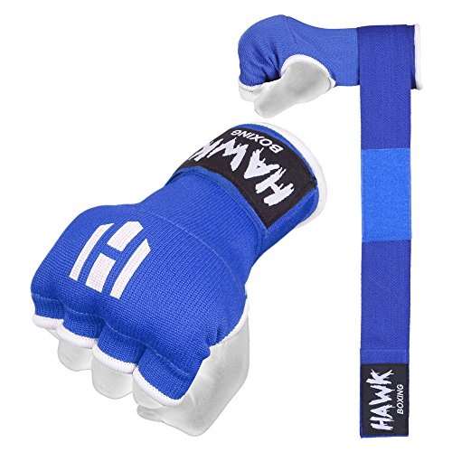 Hawk Padded Inner Gloves Training Hand Wraps For Boxing Kickboxing Muay Thai MMA Bandages Fist Knuckle Wrist Protector (PAIR) (Blue, S/M)