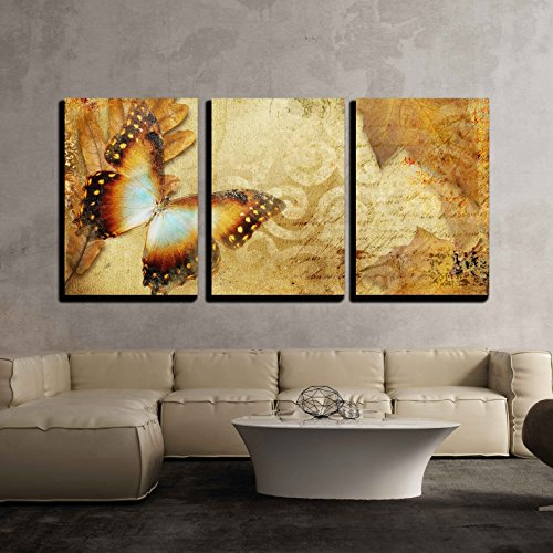 - wall26-3 Piece Canvas Wall Art - Vintage Autumn Card with Leaves and Butterfly - Modern Home Decor Stretched and Framed Ready to Hang - 16