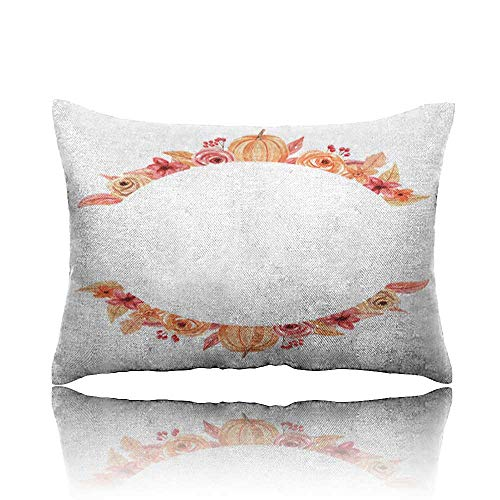 - Memory Foam Pillow Pumpkin Circle Frame Hand Painted Watercolour Autumn Fall Wreath Massage Pillow 20