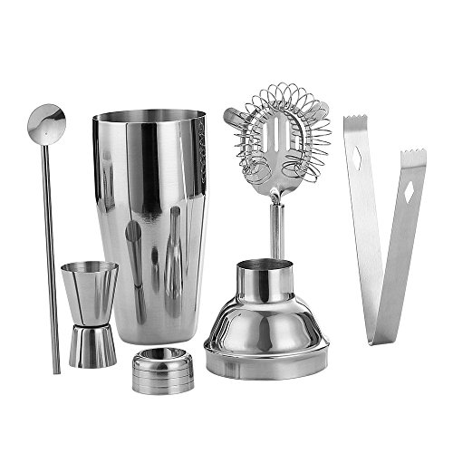 5 Piece Stainless Steel 25 oz Cocktail Shaker Set by QLL, Silver Tipsy Tools Bartending Kit Cocktail Strainer Drink Stirrer Ice Tongs Jigger by QLL (Image #1)