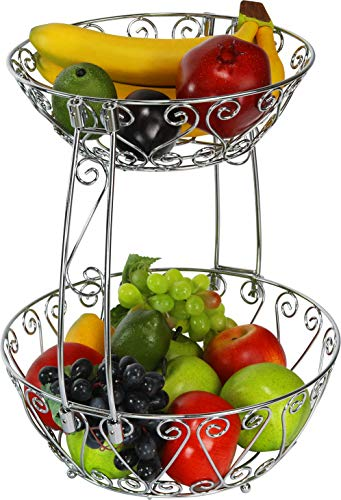 2-Tier Countertop Fruit Basket Bowl Storage, Chrome