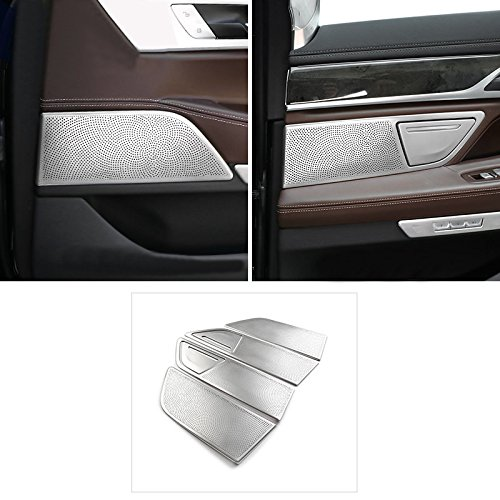 6pcs Steel Interior Accessories Door Inner Speaker Mesh Cover Decorative Trim For BMW 7 Series G11 G12 2016 2017 2018 by HIGH FLYING