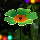 "BRIGHT ZEAL Fluorescent Colored Garden Flower Stake Big Size Suncatcher (7"" in Diameter, 3.1 Tall) - Green - Garden Ornament Stakes - Lawn Ornaments - Garden Decorations Outdoor 20800"