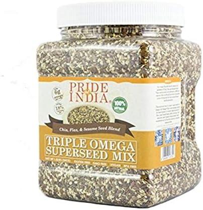 Pride Of India - Triple Omega Superseed Mix - 1,4 libra (635 g) Jar-proteína, fibra, calcio, hierro, omega-3, omega-6, tiamina rica súper con semillas ...
