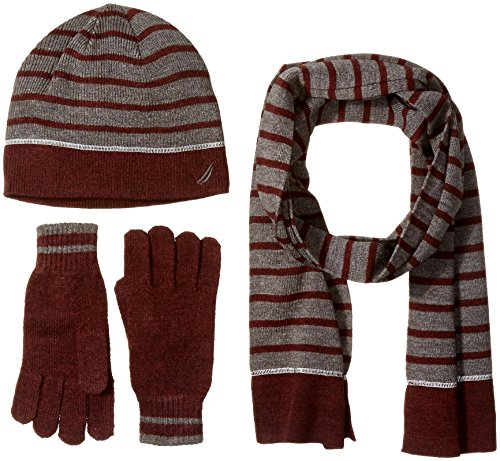 Nautica Men's Stripe 3 Piece Gift Set, Shipwreck Burgundy Heather, One Size Mens 3 Piece Gift