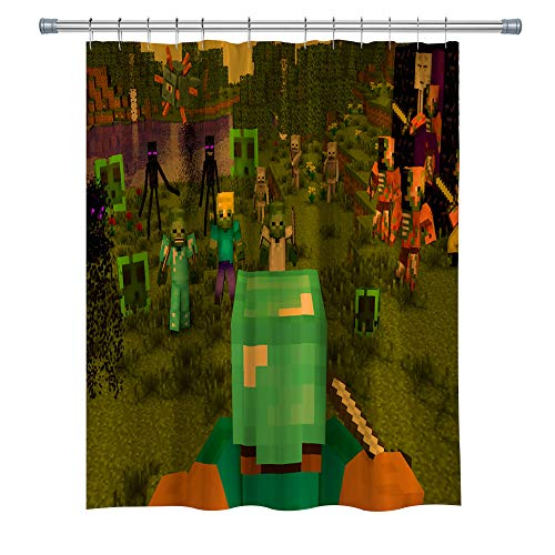 Aperfect Game Decor Shower Curtain, Minecraft, Waterproof Mildew-Resistant Fabric Bathroom Set with Hooks, 7171 Inches, Green
