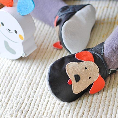Zapatillas de Niño Niña - Patucos de cuero con elástico para Bebé - Zapatillas Primeros Pasos - Zapatillas infantiles -pescado negro con un perro