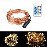 Starry String Lights Simmper 33Ft Copper Wire 100 LEDs Flexible Firefly Lights with Remote Control Warm White Color for Indoor Outdoor Christmas Party Wedding Tree Patio Lights Decoration