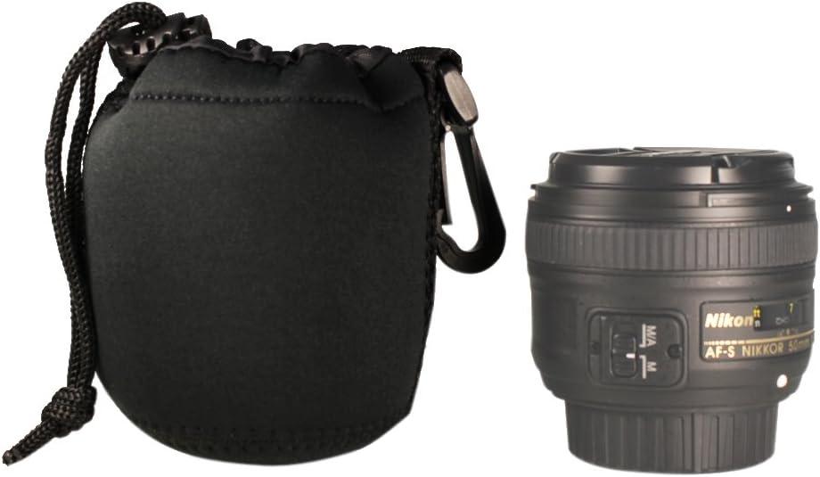 Foto&Tech DSLR Camera Drawstring Soft Neoprene Lens Pouch Bag Cover Compatible with Canon Nikon Sony Panasonic Fujifilm Olympus Pentax Sigma DSLR/SLR/Evil Camera (Small)