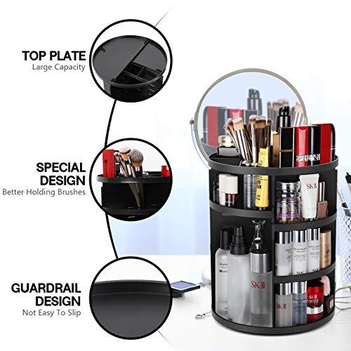 Syntus 360 Rotating Makeup Organizer, DIY Adjustable Bathroom Makeup Carousel Spinning Holder Rack, Large Capacity Cosmetics Storage Box Vanity Shelf Countertop, Fits Makeup Brushes, Lipsticks, Black