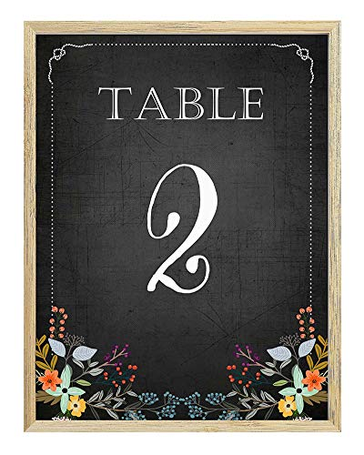 Darling Souvenir, Chalkboard Style 1-20 Table Numbers Chalk Board Wedding Reception Decor Table Cards (4x6 Inches)