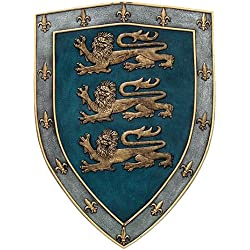 Pacific Giftware Medieval Times Three Lions Royal Coat of Arms Shield Wall Sculpture Decor